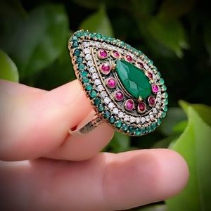 EMERALD RUBY RING Size 8.5 Solid 925 Silver/Gold